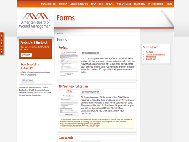 ABWM website screenshots