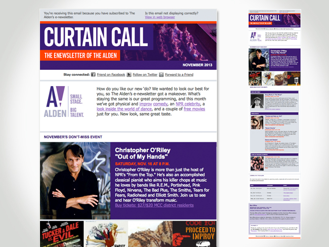 Alden Curtain Call newsletter screenshot