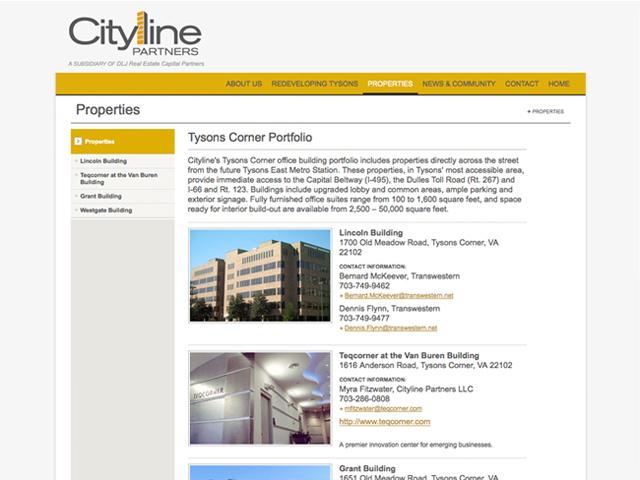 Cityline Partners website screenshots