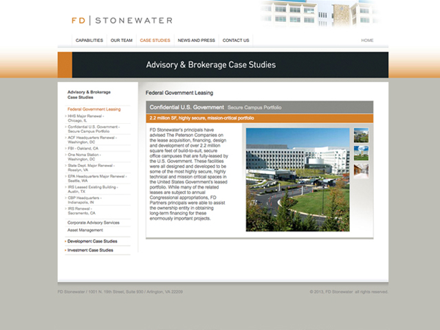 FD Stonewater website screenshots