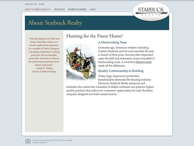 Starbuck Realty website screenshots