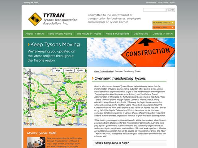 Tysons Transportation Association website screenshots