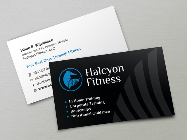 Halcyon Fitness business cards
